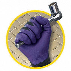 Coated Gloves, Foam Nitrile, L, Black, PR