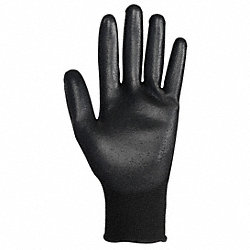 Coated Gloves, Polyurethane, Black, PR