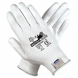 Coated Gloves, M, White, PU, PR