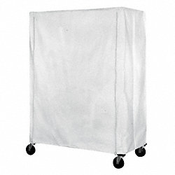 Cart Cover, 48x21x63, White, Poly, Zipper