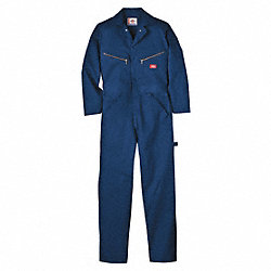 Long Sleeve Coveralls, Cotton, Navy, L
