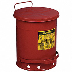 Oily Waste Can, 10 Gal., Steel, Red