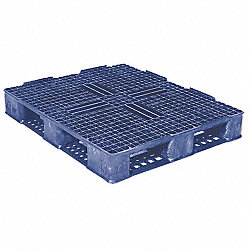 Plastic Pallet, Rackable, H7.1In, Blue