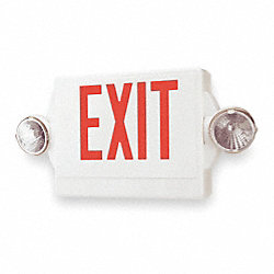 Exit Sign w/Emergency Lights, 3.3W, Red