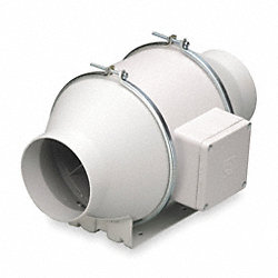 Mixed Flow Duct Fan, 8-3/8 In. L, Ball