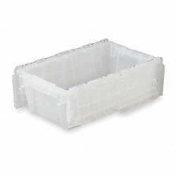 Attached Lid Container, D 15 13/16, Clear