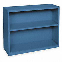 Bookcase, Steel, 2 Shelf, Blue
