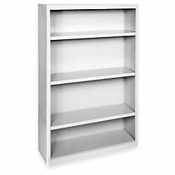 Radius Corner Bookcase, Steel, 4 Shelf, Gry