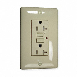 GFCI Receptacle, 20A, Commercial, Almond