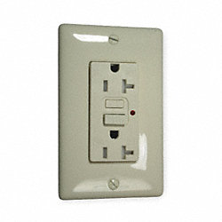 GFCI Receptacle, 20A, Commercial, Lt Almond
