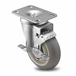 Swivel Plate Cstr w/Brke, 325 lb, 6 In Dia