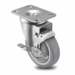 Swivel Plate Cstr w/Brke, 300 lb, 6 In Dia