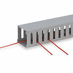 Wire Duct, Wide Slot, Gray, 1.26 W x 1 D