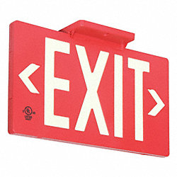 Exit Sign, 8-5/8 x 15-7/8In, WHT/R, Exit