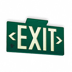 Exit Sign, 8-3/4 x 15-3/8In, Green/White