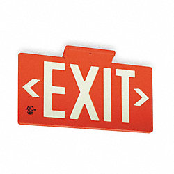 Exit Sign, 8-3/4 x 15-3/8In, WHT/R, Exit