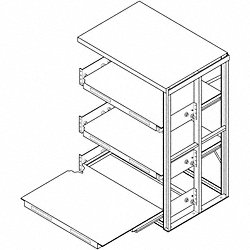 Roll Out Shelving, 4 Shelf, 48x36x84-1/2H