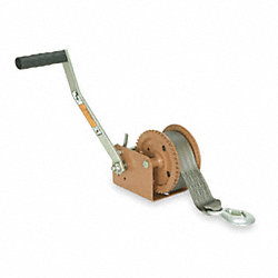 Hand Winch w/Strap, Spur, No Brake, 1400lb.