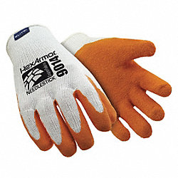 Cut Resistant Gloves, White/Orange, M, PR