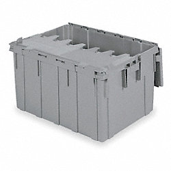 Container, Attached Lid, 28.57 gal., Gray