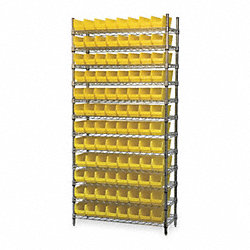 Bin Shelving, Wire, 36X14, 96 Bins, Yellow