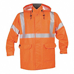 Arc Flash Rain Jacket W/Hd, 4XL, HiVis Orn