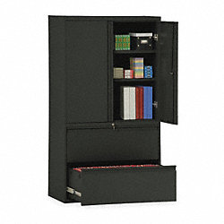 Lateral File Cabinet, 36In W, 2 Drawer, Blk