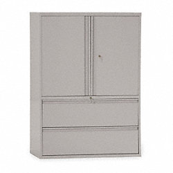 Lateral File Cabinet, 42In W, 2 Drawer, Gry