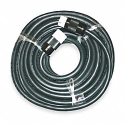 Temp Cord, 100 Ft, 125/250V, 50A, Black