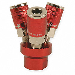 Three Way Air Gun Manifold, Aluminium, Red