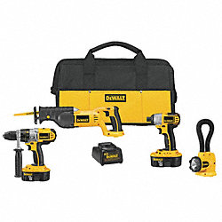 Cordless Combination Kit, 2.4A/hr., 18.0V