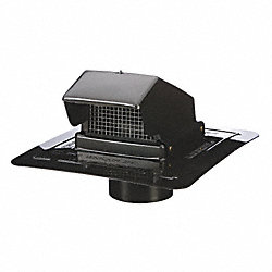 Wall/Roof Cap, Duct Sz 4 In, Black Plastic