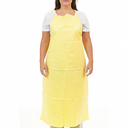 Bib Apron, Yellow, 46 In. L, PK 100