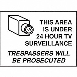 Security Sign, 10 x 14In, BK/WHT, ENG, SURF