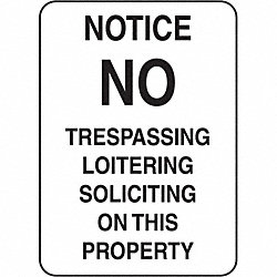 Notice Sign, 24 x 18In, BK/WHT, Fiberglass