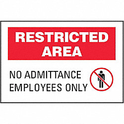 Admittance Sign, 10 x 14In, BK and R/WHT
