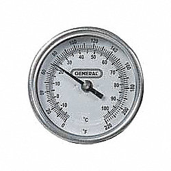 Bimetal Thermom, 3 In Dial, 0 to 220F