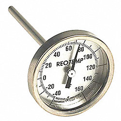Bimetal Therm, 2-3/8 In Dial, -40to160F