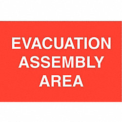 Evacuation Area Sign, 14 x 20In, WHT/R, AL
