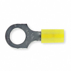 Ring Terminal, Yellow, 12 to 10 AWG, PK50