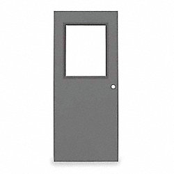 Half Glass Steel Door, 84x36 In, 16 ga