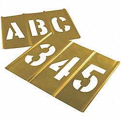Stencil Set, Letters & Numbers, Brass