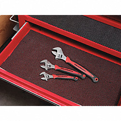 Adjustable Wrench Set, Chrome, Steel, 3 PC