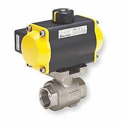Ball Valve, Pneumatic Actuated, SS, 1/2 In