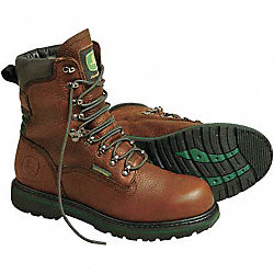 Work Boots, Pln, Mens, 9-1/2, Brown, 1PR