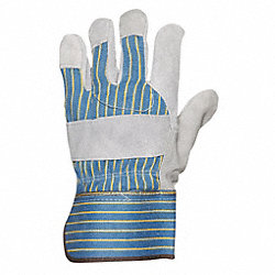 Leather Gloves, Blue/Gray Stripe, L, PR