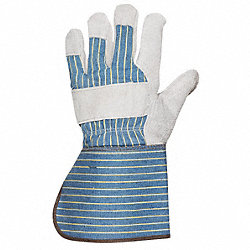 Leather Gloves, Gauntlet, Blue/Gray, L, PR