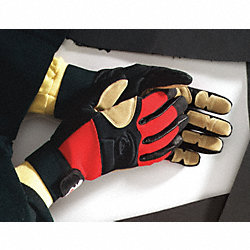 Rescue Gloves, 2XL, Red, Leather, PR