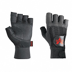 Anti-Vibration Glove, M, Black, Half Finger