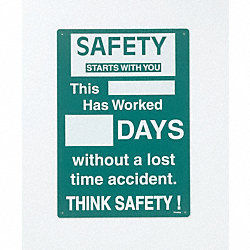 Safety Record Signs, 20 x 14In, ENG